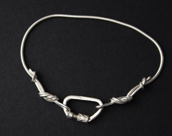 Sterling Silver Climbing Rope Chain Bracelet with Functional Carabiner