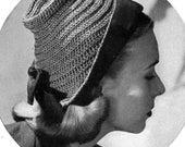 Cloche Hat - 1940s Vintage Pattern Digitally Restored Pattern - Instant Download