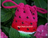 Mouth watering drawstring Watermelon Purse Crochet Pattern - Instant Download