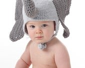 Adorable Elephant Ear Flap Hat -  CROCHET PATTERN - Instant Download