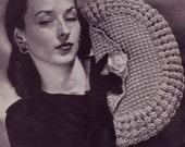 The Fan Bag  - 1940s Vintage Crochet Hiawatha Handbag Pattern Digitally Restored PDF - Instant Download