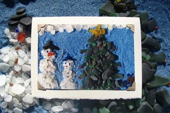 Sea Glass Snowman Christmas Tree Photo card. Blank Christmas card