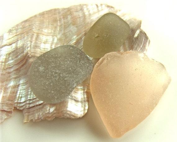 Pink and gray sea glass. Sea glass supplies.