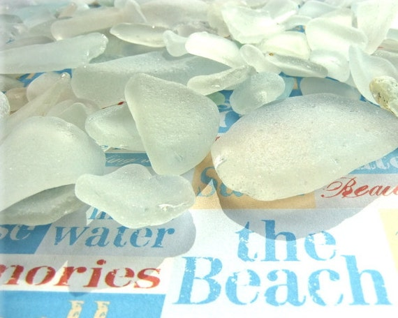 White Serenity One Pound Sea glass supplies for jewery crafts and home decor.
