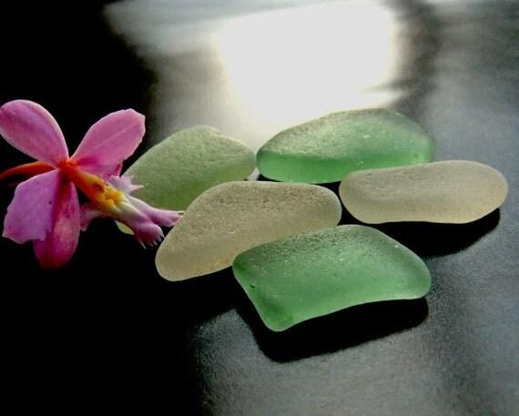 Sea glass supplies. -MONTEREY BREEZE- pale green beach glass.