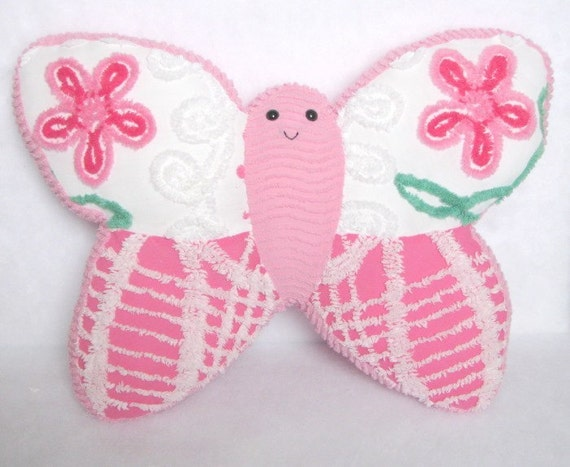 VINTAGE CHENILLE BUTTERFLY PILLOW FRIEND