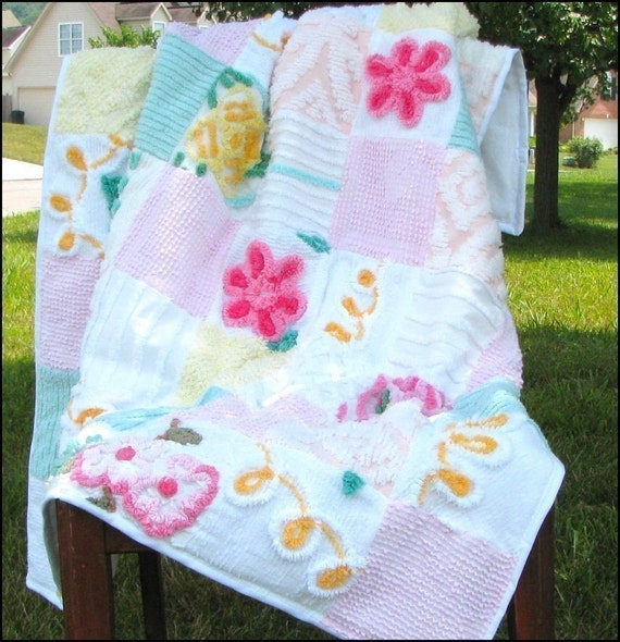Custom Chenille Baby Quilt Pink 37 X 48 - Great Shower Gift