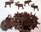 100 Dark Brown MOOSE Paper Piecing Embellishments Scrapbooking Confetti Cutouts