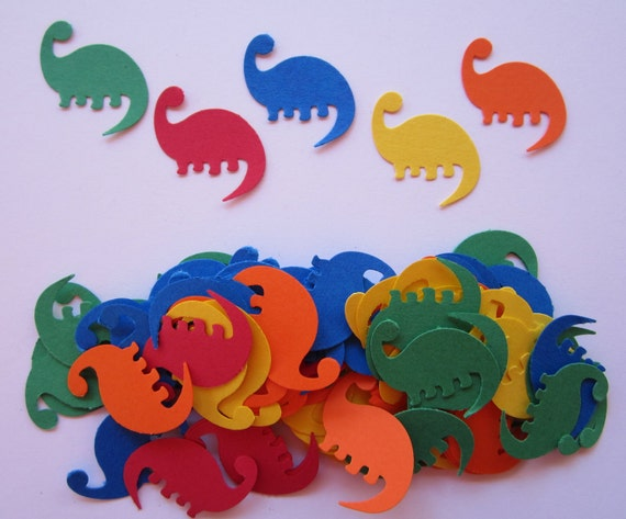 100 Primary Colored Prehistoric Dinosaurs Paper Piecing Embellishments Scrapbooking Confetti