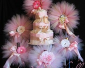 Blush Baby Shower Decorations Package includes 6 newborn tutus, flower clips, headbands, diaper cake made to match your colors
