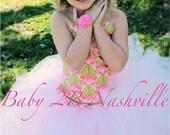 Flower Girl Tutu Dress  7-8 Full Length Pink and Green