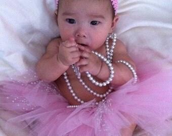 Baby Birthday Tutu Pink And White Polka Dot