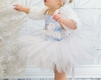 Winter Onederland Baby Toddler Snow Princess Tutu Set Pageant Wear