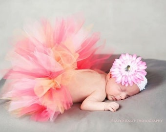 Baby Tutu Skirt  in Pink, Peach and Coral Tutu Only