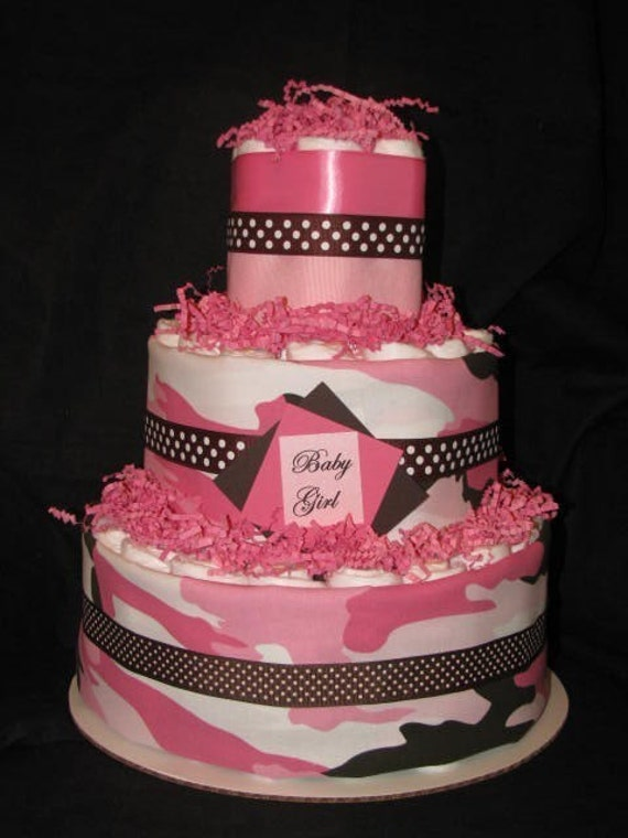 Girls Camo Diaper Cake