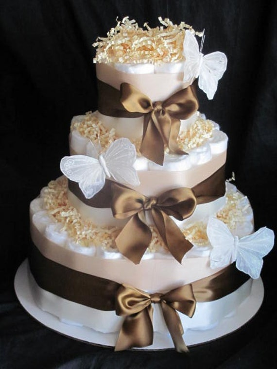 Items Similar To Butterfly Diaper Cake Baby Shower
