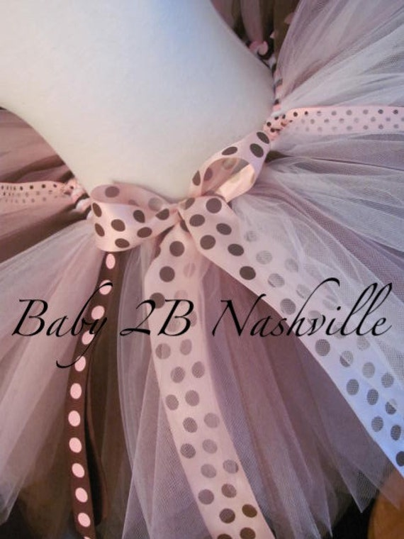 Toddler Birthday Tutu in Neopolitan Pink and Brown