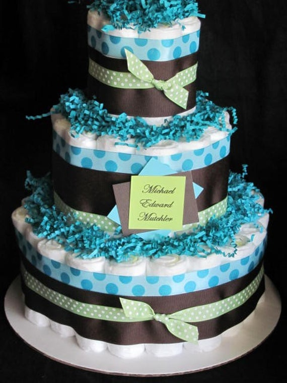 Baby boy diaper cake baby shower centerpiece gift for Baby shower decoration diaper cake