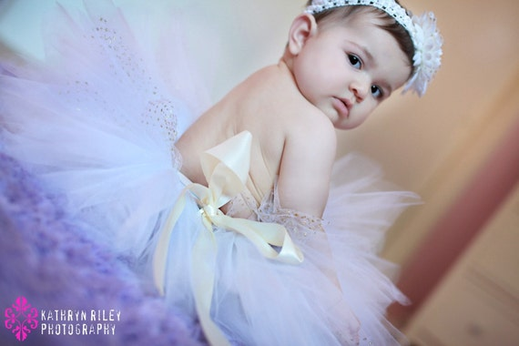 Angel Costume Tutu White, Baby Tutu with Gold Sparkle  Perfect for Portraits and Birthdays