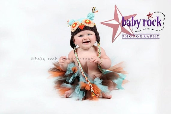 Toddler Birthday Tutu in Orange Aqua and Brown Great for Portraits