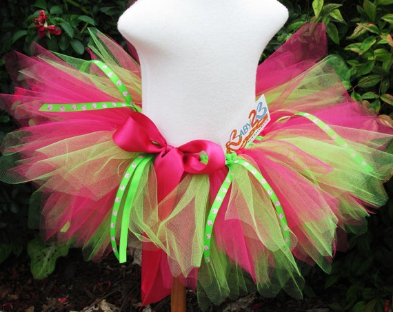 Lady Bug Tutu in Hot Pink and Lime First Birthday Tutu Baby - Toddler 4T