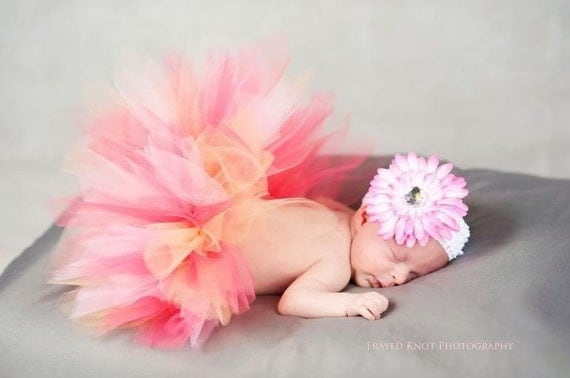 Newborn Baby Tutu Skirt  in Pink, Peach and Coral with matching flower clip and headband