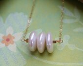 Pearl Coin Necklace Three Sister Necklace Wedding Jewelry Bridesmaids Necklace