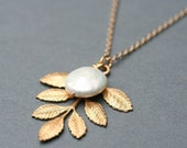 Gold Leaf Necklace Fresh Water Coin Pearl Necklace  Woodland Jewelry Gold Filled Chain