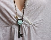 Skeleton Key Necklace , Antique Skeleton Key , Steampunk Jewelry