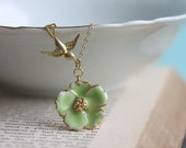 Tiny Flower Necklace -Green Pansy Necklace , Gold Filled Chain - Vintage Flower - Pansy Charm