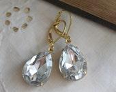 Estate Style Vintage Earrings , Rhinestone Earrings, Drop Earrings, Dangle Earrings,  Diamond Glow Earrings
