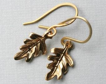 Gold Leaf Earrings Leaf Dangle Earring Everyday Jewelry