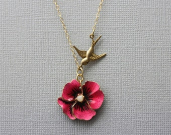 Pansy Necklace Pink Flower Necklace Pansy Jewelry Vintage Pansy Pink Pansy Pendant