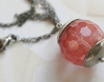 Watermelon Pink Necklace Pink Quartz Necklace Strawberry Quartz Necklace