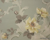 1940's Vintage Wallpaper Pale green background with open yellow roses so pretty