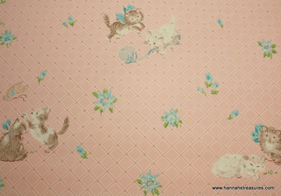 1940's Vintage Wallpaper kittens playing with yarn
