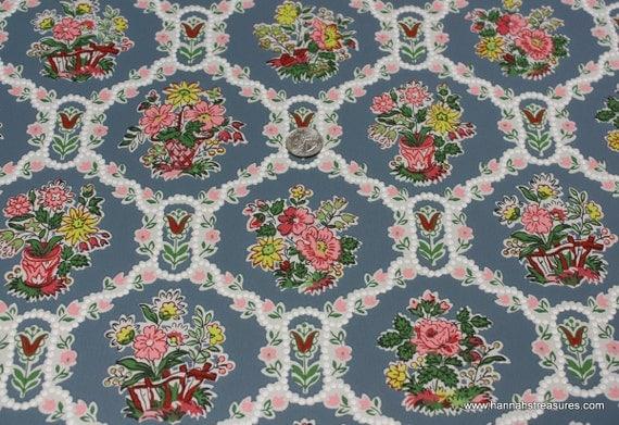 Reserved for Kitty Barnette-1940's Vintage Wallpaper baskets of flowers
