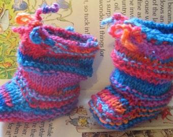 Handknit Baby Booties - Blue JellyBeans