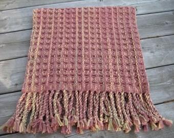 Handwoven Waffle Weave Blanket - 100% Cotton - Rosegarden