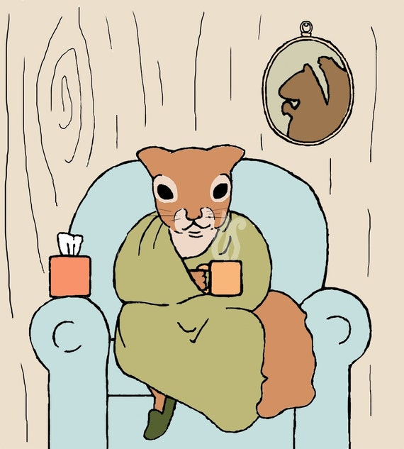 squirrel art print: sick day