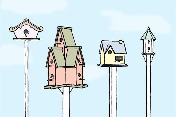 birdhouse art print: new tenants