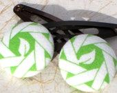 Sprout-- green fabric button snap clips or ponytail holders