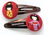 Kimono Cutie -- 2 fabric button snap clips or hair bands with a gift bag