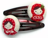 Nesting Dolls-- 2 hair clips or bands with fabric covered buttons-- choose your colors