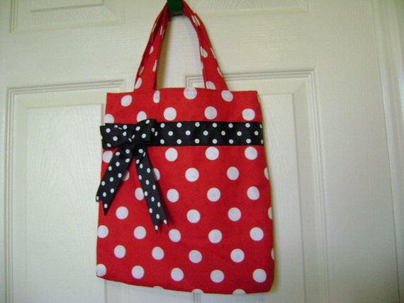 Red and White Polka Dot with Black and White Bow Fabric Tote