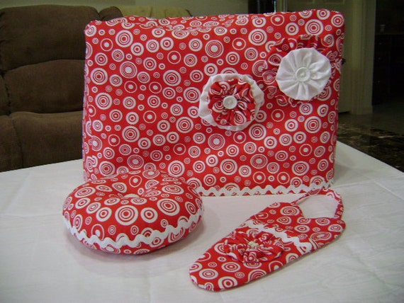 Handmade Red and White Fabric Sewing Machine Cover Set w/ Pin Cushion and Scissor holder OOAK
