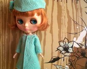 Reserved for Emilykay - Pearl Trim Coat Dress and Hat Set for Blythe