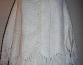 Hand Knit Vintage Granny Shawl or Cape in Winter White
