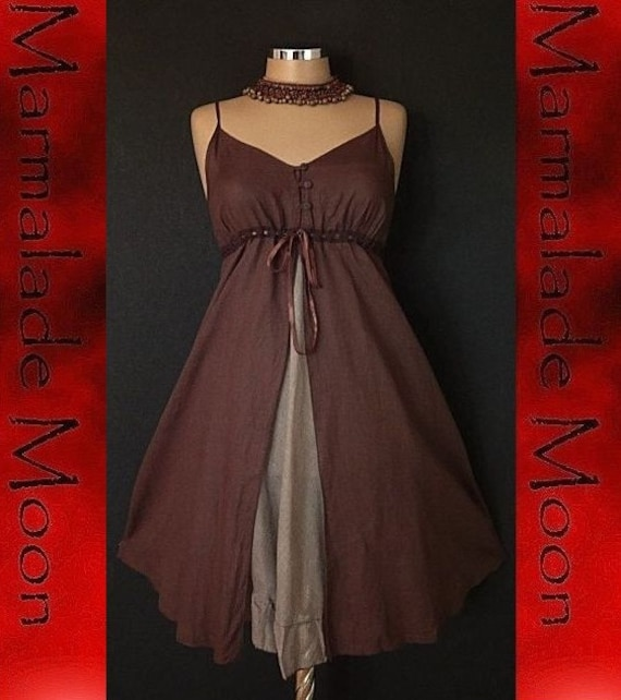 NeW RomantiC BrOwn SteamPunk shOrt LaCe DRESS 12 14 16