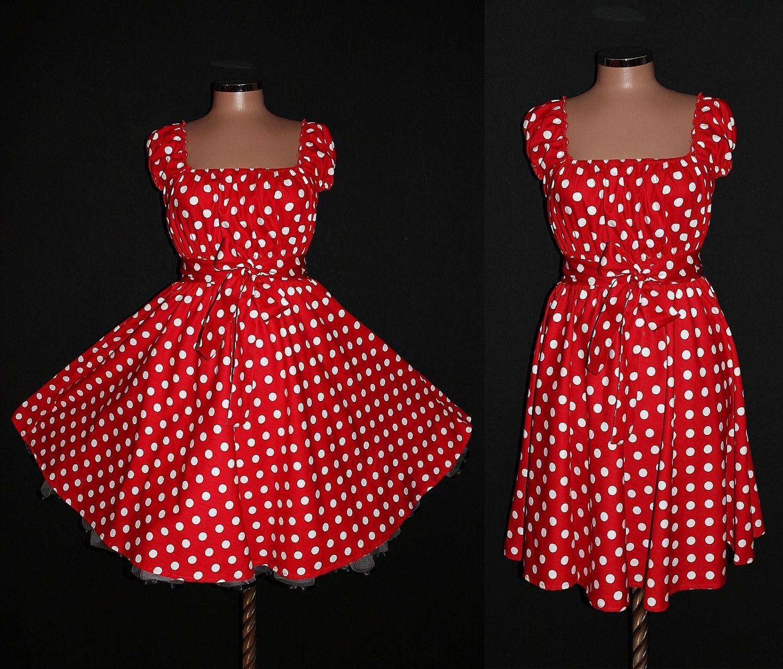 Red black polka dot dress plus size